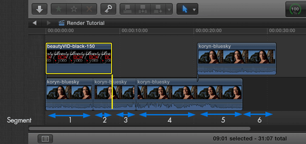 FCP Timeline with everything rendered including Beauty Box Video