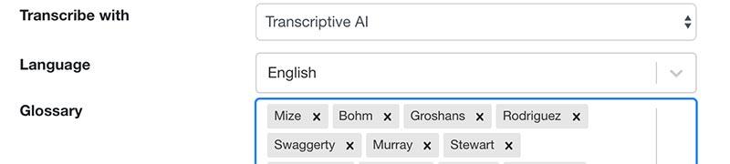 Transcriptive's Glossary to add custom vocabulary