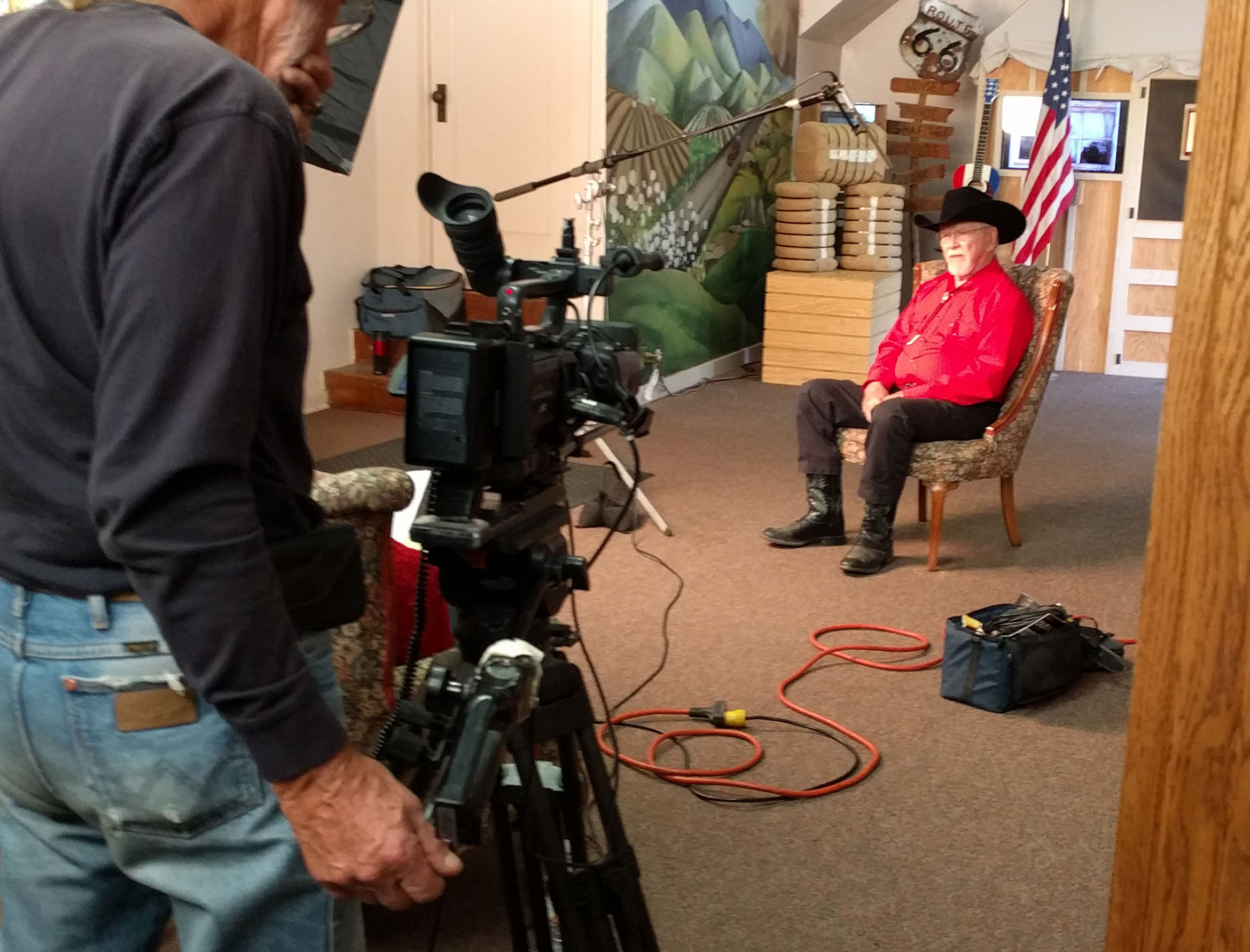 Chuck Barbee shooting interview with Tommy Hays at the Kern County Museum.