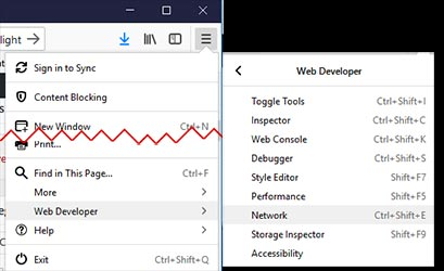 Firefox's web developer tool, the Network tab