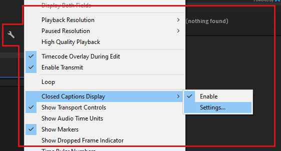 Enable Captions from the Tool menu