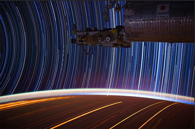 Long Exposure photos of star trails from space