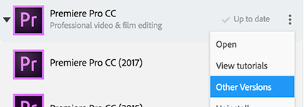 How to install older versions of Premiere Pro