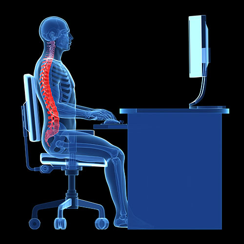 You want to sit upright in your chair for good back health