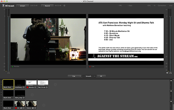 Wirecast interface for video live streaming